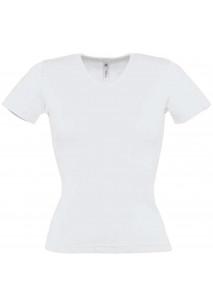 T-shirt de senhora com decote em V em malha 1X1