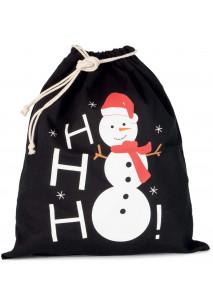 Saco de algodão com cordão, motivo boneco de neve