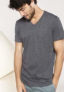 T-shirt de manga curta com decote V em poliéster algodão
