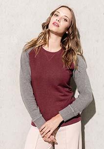 Sweatshirt BIO bicolor de senhora com decote redondo e mangas raglan