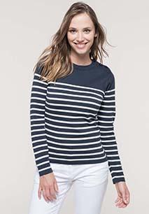 Camisola estilo marinheiro de senhora