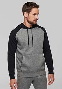 Sweatshirt com capuz bicolor de adulto