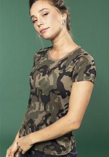 T-shirt de senhora camuflada manga curta