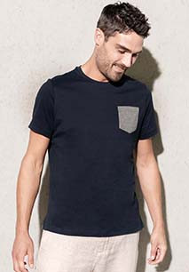 T-shirt em algodão biológico com bolso