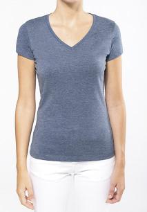 T-shirt de senhora de manga curta com decote em V em poliéster/algodão