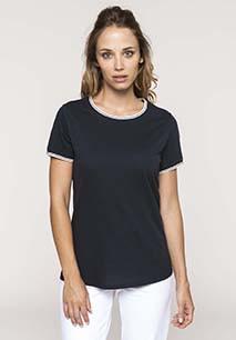 T-shirt de senhora em malha piqué com decote redondo