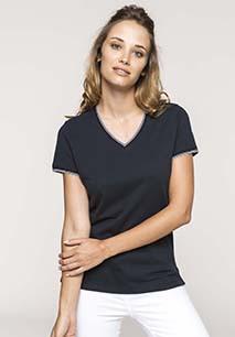 T-shirt de malha piqué de senhora com decote V