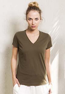 T-shirt de senhora em algodão biológico com decote V