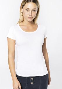 T-shirt de senhora Bio com decote sem costuras de manga curta