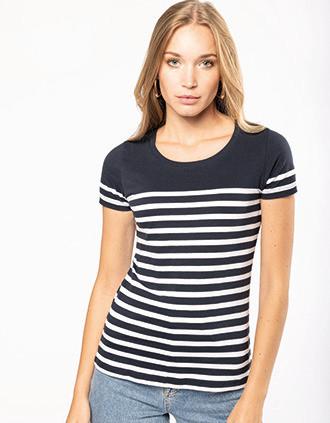 T-shirt estilo marinheiro Bio com decote redondo para senhora