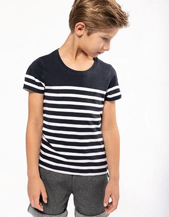 T-shirt estilo marinheiro Bio com decote redondo Bio para criança