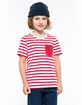 T-shirt às riscas de criança estilo marinheiro de manga curta com bolso