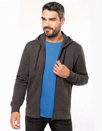 Sweatshirt eco-responsável com capuz e fecho de homem