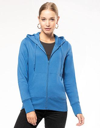 Sweatshirt eco-responsável com capuz e fecho de senhora
