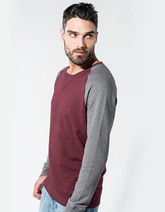Sweatshirt BIO bicolor de homem com decote redondo e mangas raglan