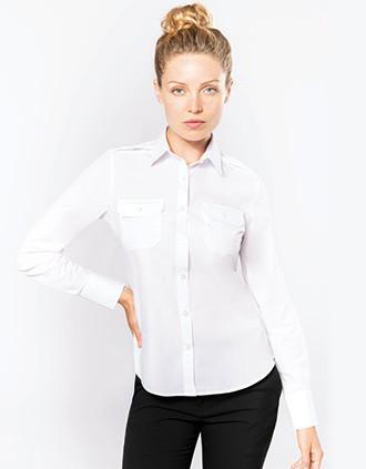 Camisa piloto de senhora de manga comprida