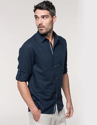 Camisa de linho de homem de manga comprida