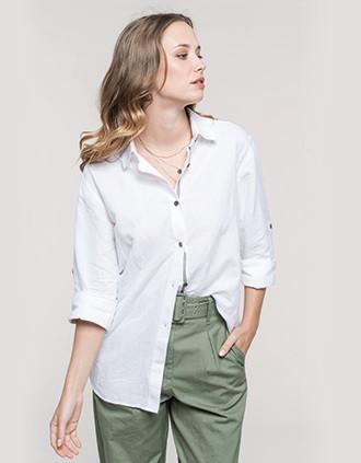 Camisa de linho de senhora de manga comprida