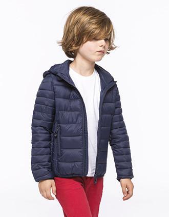 Blusão de criança acolchoado leve com capuz