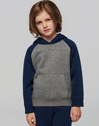 Sweatshirt com capuz bicolor de criança