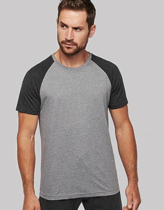 T-shirt Triblend bicolor de desporto de adulto