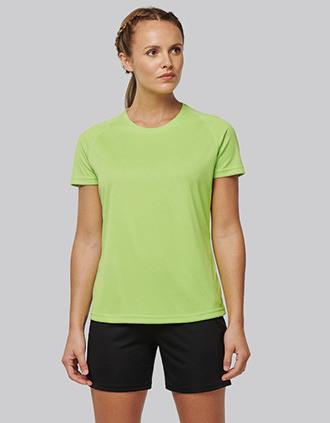 T-shirt de desporto de senhora de material reciclado com decote redondo