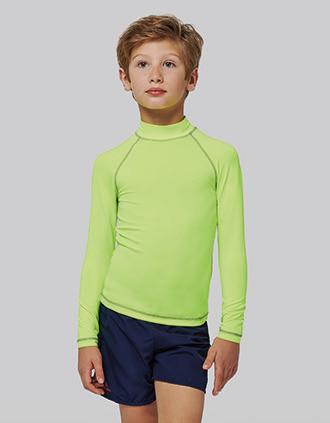 T-shirt técnica de criança de manga comprida com proteção anti-UV