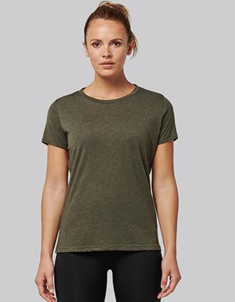 T-shirt de desporto de senhora Triblend com decote redondo